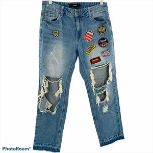 F21 | Destroyed Patchwork High Rise Jeans Pants